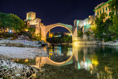 Mostar Skyline at Night Stock Images