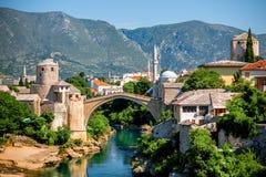 Mostar stadssikt royaltyfri bild