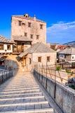 Mostar Stari mest bro i Bosnien och Hercegovina arkivbild