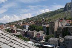 Mostar, tejados, religión, mezquita, rezo, lugar de culto, Bosnia y Herzegovina, Europa, ciudad vieja, Islam, musulmán, horizonte fotos de archivo