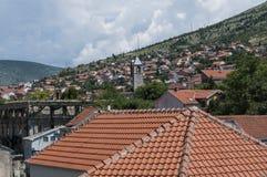 Mostar, tejados, religión, mezquita, rezo, lugar de culto, Bosnia y Herzegovina, Europa, ciudad vieja, Islam, musulmán, horizonte imágenes de archivo libres de regalías