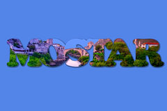 Mostar Word Art on Blue Background. The Old Bridge of Mostar in Mostar Text, Royalty Free Stock Image
