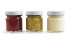 Mostarda, Mayo e molho Fotografia de Stock Royalty Free