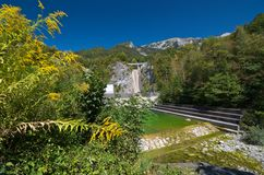 Moste Dam. View at the the barrier from under the accumulation lake Stock Photography