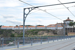 Mosteiro da Serra do Pilar, Railway Wires and Structure from Dom Luís I Bridge in Porto, Portugal stock photo