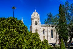 Mosteiro dos Jeronimos是一个高度华丽前修道院,位于在里斯本贝拉母区  免版税库存照片
