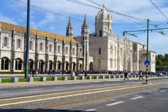 Mosteiro dos Jeronimos is a highly ornate former monastery, situated in the Belem district of  Lisbon. LISBON - APRIL 01 , 2018 : Mosteiro dos Jeronimos is a Royalty Free Stock Image