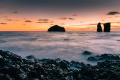 Mosteiros beach at sunset in Azores islands stock photo