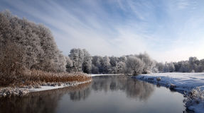 Mostly calm winter landscape with cold river, surrounded by trees and reeds, covered with hoarfrost and snow. European winter. Royalty Free Stock Photos