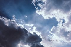 Mostly cloudy sky. Dramatic sky background royalty free stock images