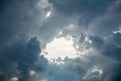 Mostly cloudy sky. Dramatic sky background stock image