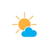 Mostly Sunny weather Icon isolated on white background. Vector illustration. Royalty Free Stock Photography