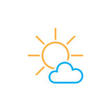 Mostly Sunny weather Icon isolated on white background. Vector illustration. Stock Images