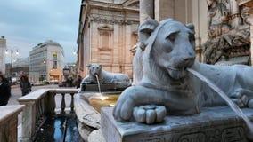 Mostra Acqua Felice in Rome. Fontana dell`Acqua Felice,aka the Fountain of Moses,  located in the Quirinale District of Rome, Italy Stock Image