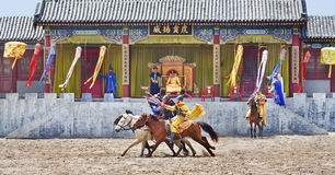 Mostra antiga em estúdios do mundo de Hengdian, China do cavalo do estilo Fotografia de Stock Royalty Free