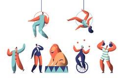 Mostra bem-vinda do circo com grupo do palhaço Acrobat Aerialists e animal Juggler Balance da mulher no Unicycle O homem forte le ilustração royalty free
