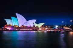 Mostra clara vívida na casa de Sydney Opera Foto de Stock