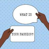Mostra concettuale di scrittura della mano che cosa ? la vostra domanda di passione Testo della foto di affari che chiede notizie royalty illustrazione gratis