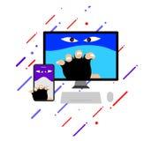 A mostra criminosa do conceito do hacker os desenhos animados engraçados ilustração do vetor