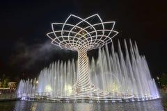 Mostra da luz da noite na árvore de vida 13, EXPO Milão 2015 Foto de Stock