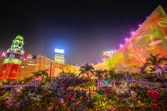 Mostra da luz de Hong Kong Foto de Stock