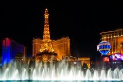 Mostra da noite da água de Vegas Imagem de Stock