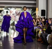 Mostra da pista de decolagem de Christian Siriano FW19 como parte do New York Fashion Week imagem de stock