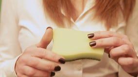 A mostra das mãos da esponja gerencie video estoque
