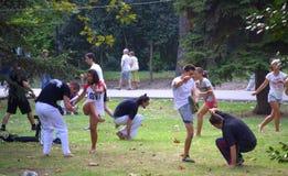 Mostra de Capoeira no parque da cidade Imagens de Stock