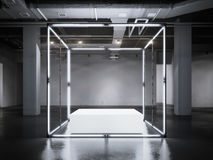 Mostra de incandescência moderna com pódio branco rendição 3d Fotos de Stock