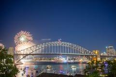 Mostra de Sydney New Year Eve Fireworks foto de stock royalty free