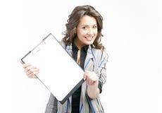 Mostra dei appunti in bianco Fotografie Stock