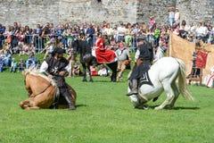 Mostra dei cavalieri medievali al castello di Castelgrande a Bellinz Immagini Stock