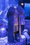 Mostra dei costumi e dei puntelli dal ` The Game di film del ` dei troni nei locali del museo marittimo di Barcellona Fotografia Stock