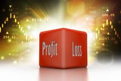 Mostra dei dadi di affari profitti e perdite nel fondo di colore immagini stock libere da diritti