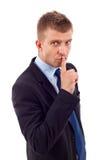 Mostra del gesto di silenzio Immagine Stock
