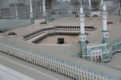 Mostra del modello di scala di Al-Haram di Masjid in Art Musium islamico fotografia stock