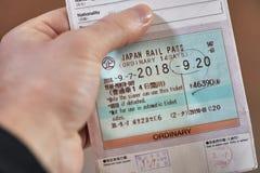 Mostra del passaggio di ferrovia del Giappone fotografia stock libera da diritti