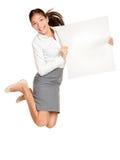 Mostra del salto della donna del segno Fotografia Stock Libera da Diritti