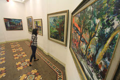 Mostra della pittura che racconta la storia di luogo natio fotografia stock