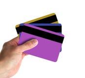 Mostra delle carte di credito Fotografie Stock