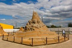 """Mostra delle sculture della sabbia """"Hanno combattuto per il loro paese,"""" Mikhail Sholokhov, autore: Knysh, Solov'ëv, Baklamenko,  fotografie stock"""