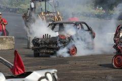 Mostra destruída do fumo dos carros Imagem de Stock Royalty Free