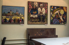 Mostra di arte dei pittori nella città russa di Kaluga Fotografia Stock