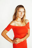 Mostra di pensiero della donna abbastanza bionda dei giovani al copyspace isolato Fotografia Stock