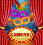 Mostra do circo com carnaval da placa do sinal, carnaval da máscara e quadro da luz ilustração do vetor