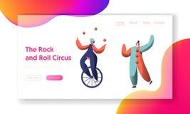 Mostra do circo do divertimento com a página de Unicycle Acrobat Landing do palhaço Juggler Balance do ciclista da mulher Mostra  ilustração do vetor