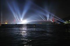 Mostra do fogo-de-artifício e da luz fotografia de stock