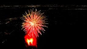 Mostra do fogo de artifício de San Antonio fotografia de stock