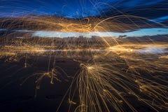Mostra do fogo na praia Imagem de Stock Royalty Free